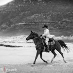 Nicky on her horse at Noordhoek Beach