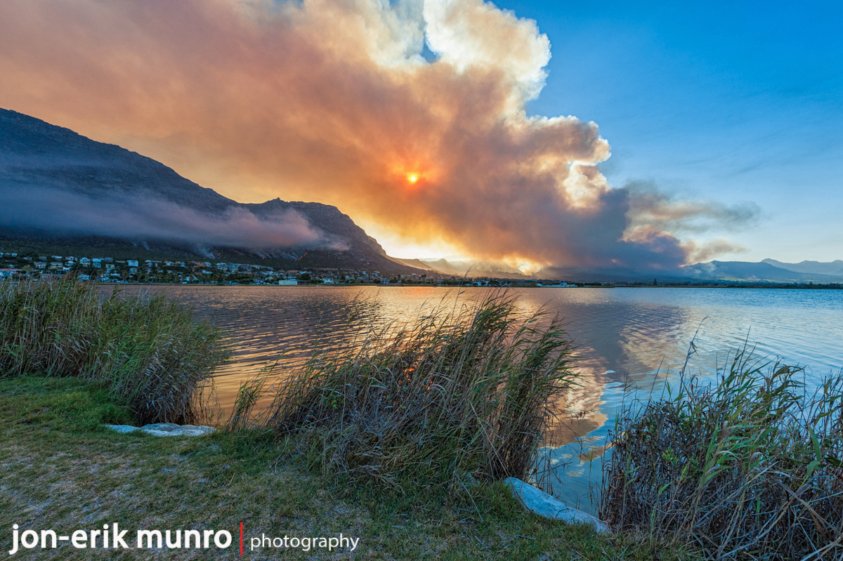 The fire as seen from the island in Marina Da Gama, burning near Elephants Eye.