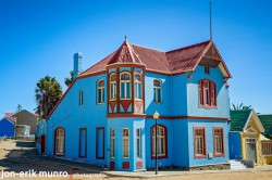 A colour house in Luderitz built in the German architectural style.