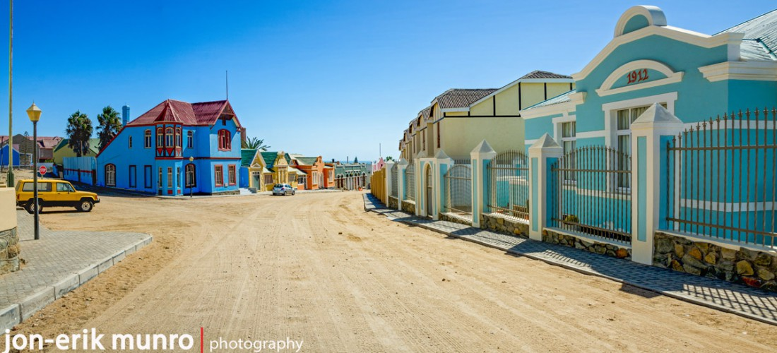 Bismark street in Luderitz.  Full of coloured houses.