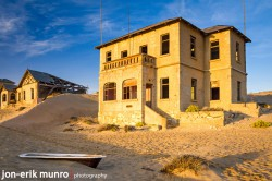 An exterior view of one of the houses at Kolmanskop.