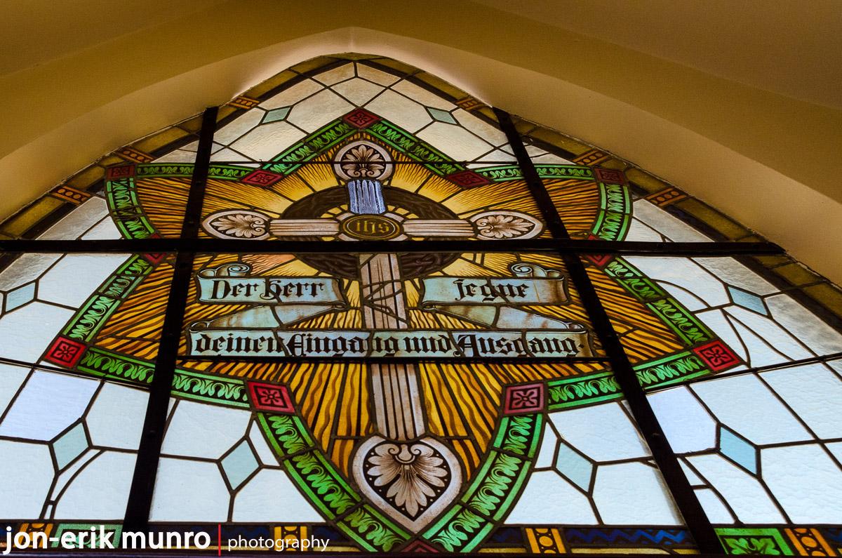 Stain glass windows inside the Felsenkirche