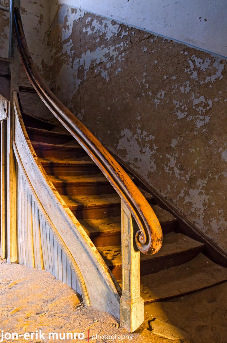 Stairway in a house at Kolmanskop